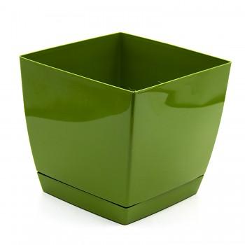 KVĚTINÁČ COUBI - hranatý zelený 13,5 cm