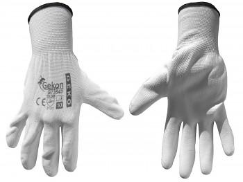 """Rukavice ochranné bílé z pletené bavlny, polomáčené v PU, velikost 10"""" GEKO"""