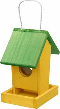 Krmítko pro venkovní ptactvo - č. 01 závěsné žluto - zelené